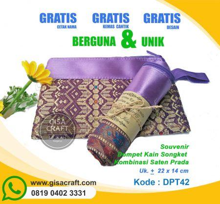 Souvenir Dompet Kain Songket Kombinasi Saten Prada DPT42
