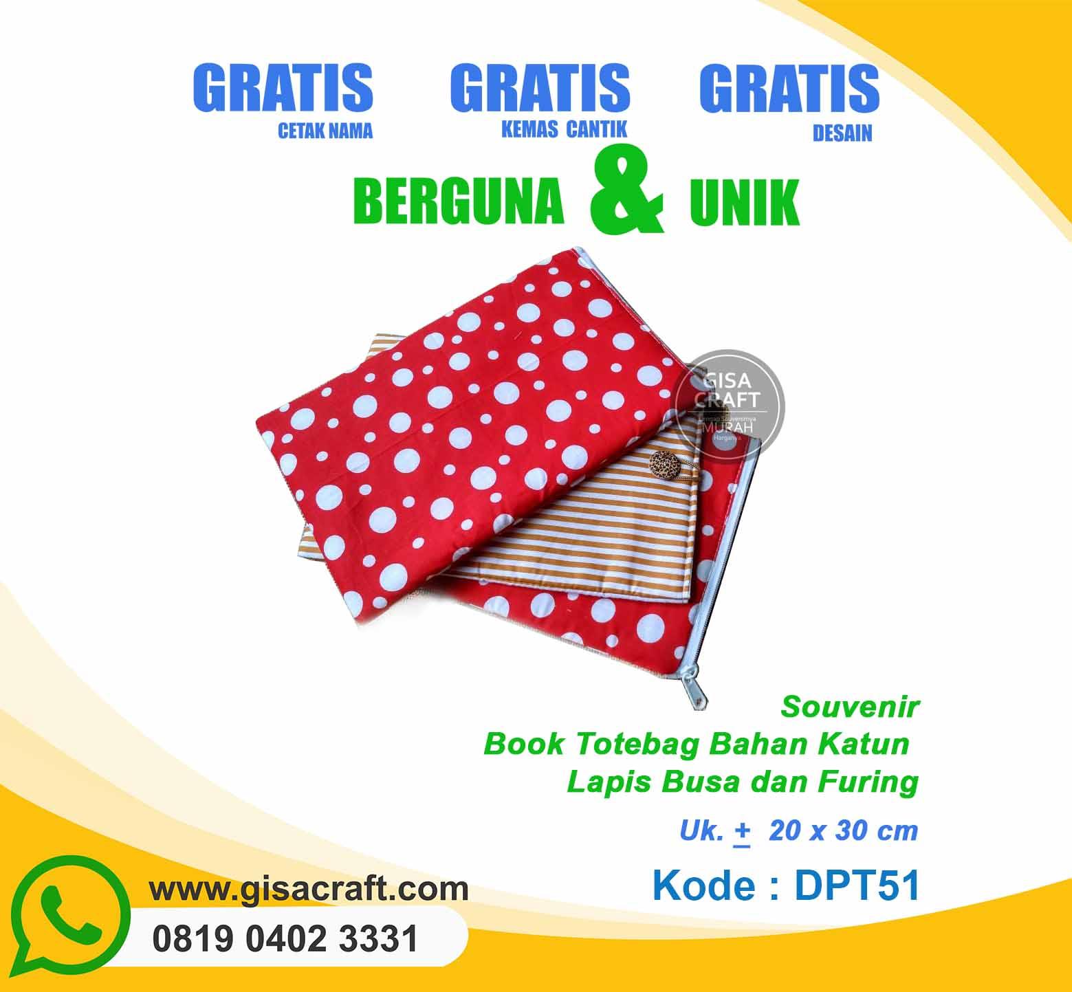 Souvenir Book Totebag Bahan Katun Lapis Busa dan Furing DPT51