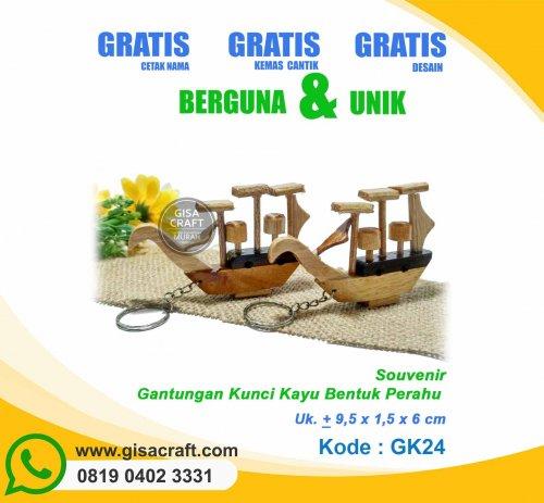 Souvenir Gantungan Kunci Kayu Bentuk Perahu GK24