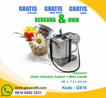 Souvenir Gelas Stainliss Sablon + Mika Cantik GS16