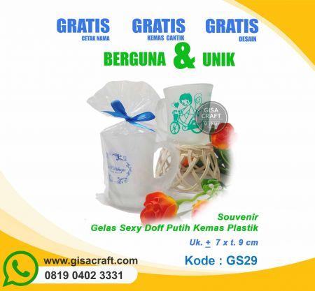 Souvenir Gelas Sexy Doff Putih Kemas Plastik GS29
