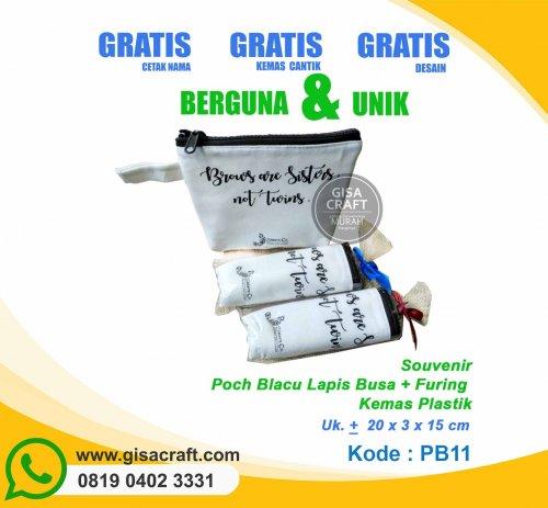 Souvenir Pouch Blacu Lapis Busa + Furing Kemas Plastik PB11