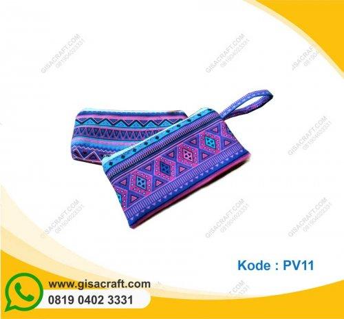 Souvenir Pouch Kanvas Motif Lapis Furing PV11