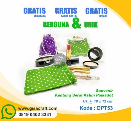 Souvenir Kantung Serut Katun Polkadot DPT53