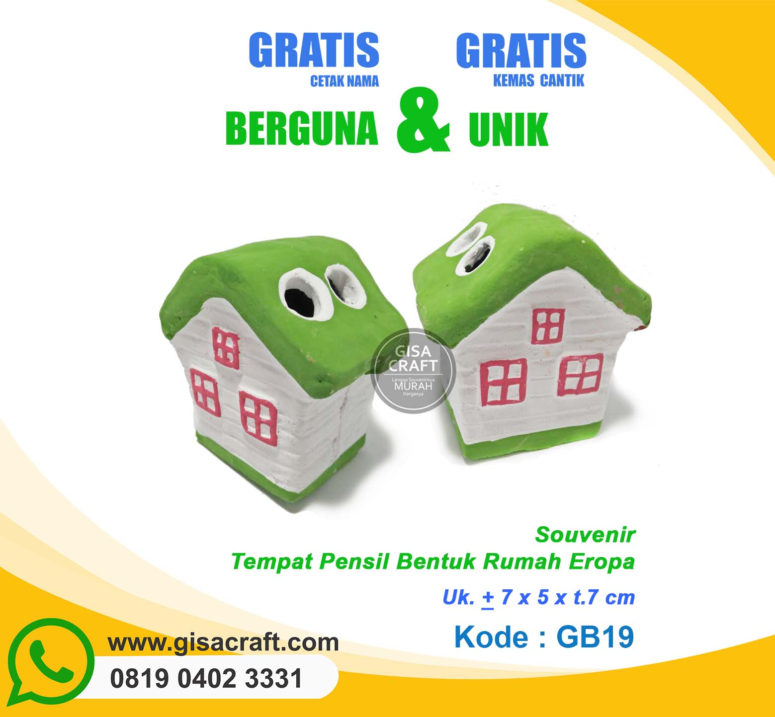 Souvenir Gerabah Tempat Pensil Bentuk Rumah Eropa GB19
