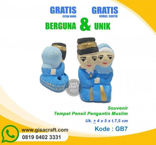 Souvenir Gerabah Tempat Pensil Pengantin Muslim GB7 5