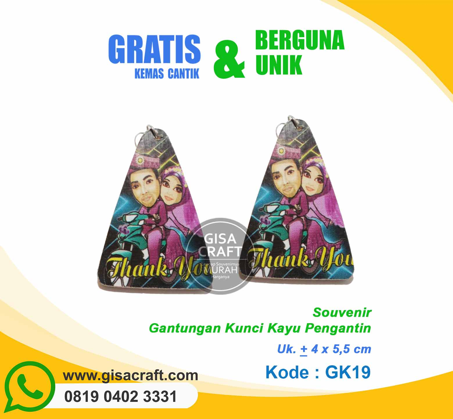 Souvenir Gantungan Kunci Kayu Pengantin GK19