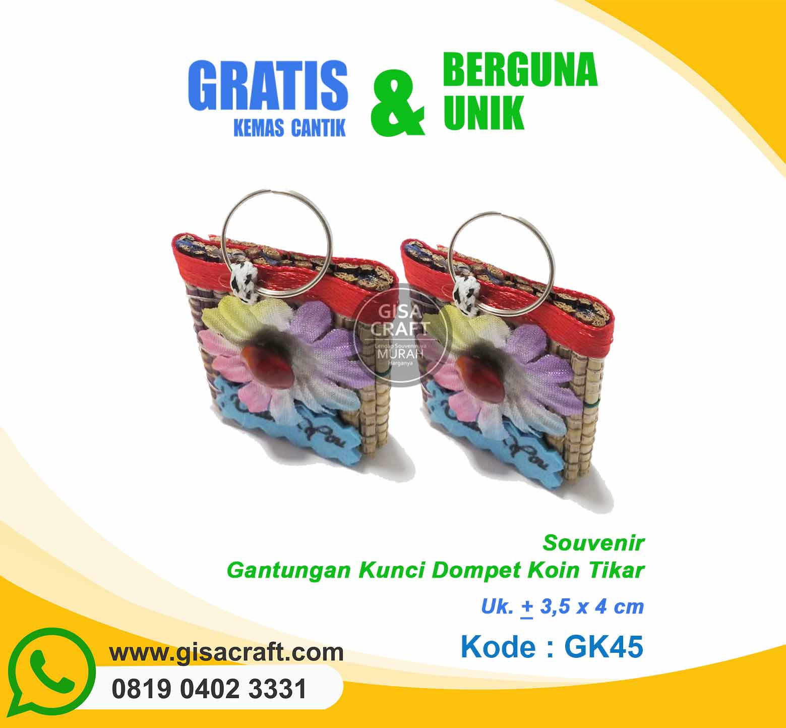 Souvenir Gantungan Kunci Dompet Koin Tikat GK45