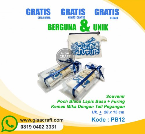 Souvenir Pouch Blacu Lapis Busa + Furing Kemas Mika Dengan Tali Pegangan PB12