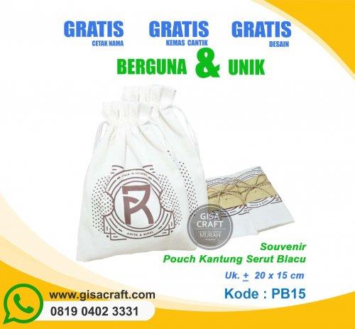 Souvenir Pouch Kantung Serut Blacu PB15