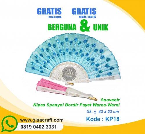 Souvenir Kipas Spanyol Bordir Payet Warna-Warni KP18