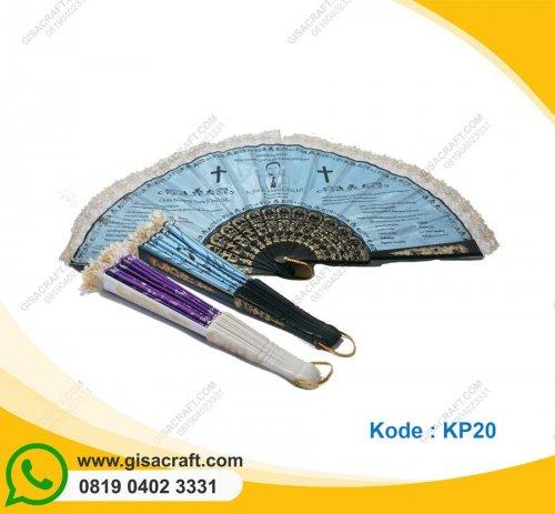 Souvenir Kipas Undangan Berenda Gagang Plastik KP20
