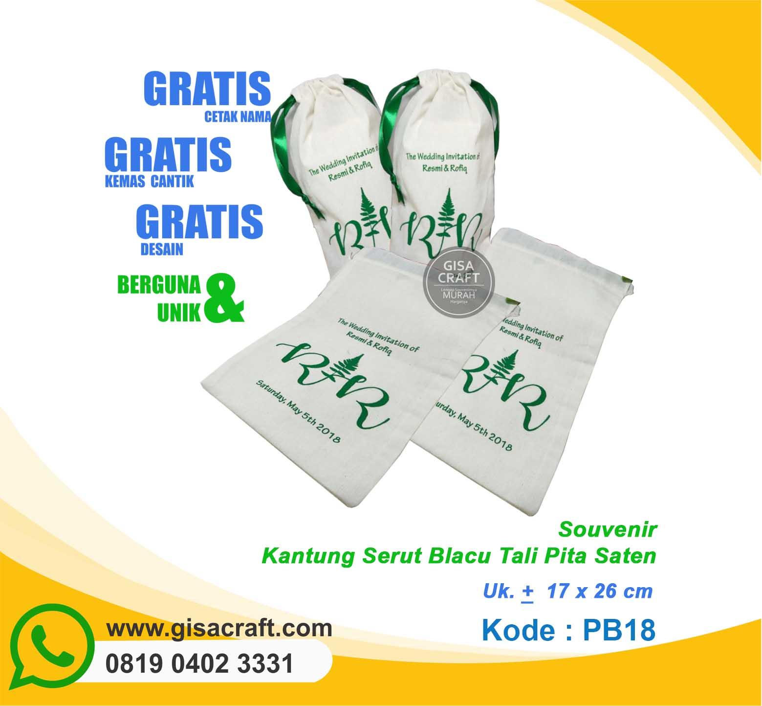 Souvenir Kantung Serut Belacu Tali Pita Saten PB18