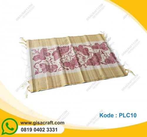 Souvenir Placemate Taplak Meja Tenun Mendong Lis Emas PLC10