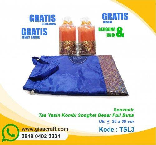 Souvenir Tas Yasin Kombinasi Songket Besar Full Busa TSL3