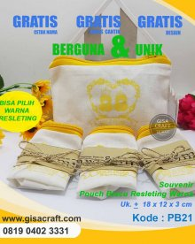 Souvenir Pouch Blacu Resleting Warna PB21