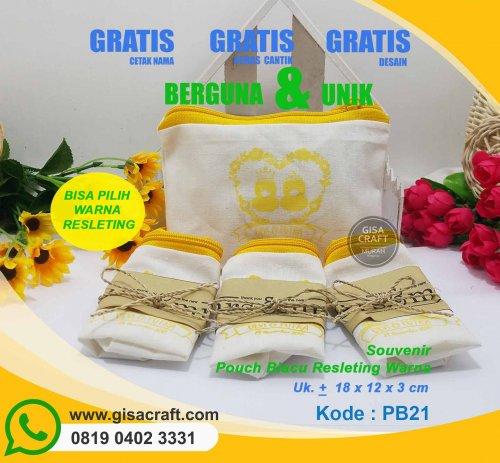 Souvenir Pouch Blacu Resleting Warna PB21