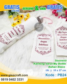 Souvenir Kantong Serut My Bottle Bahan Blacu PB24