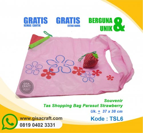 Souvenir Tas Shopping Bag Parasut Strawberry TSL6