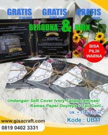 Undangan Softcover Ivory Tanpa Laminasi Kemas Paper Doyleys + Tali Goni UB11