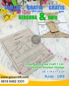 Undangan Kertas Craft 1 lembar kemas doyleys vintage UB9