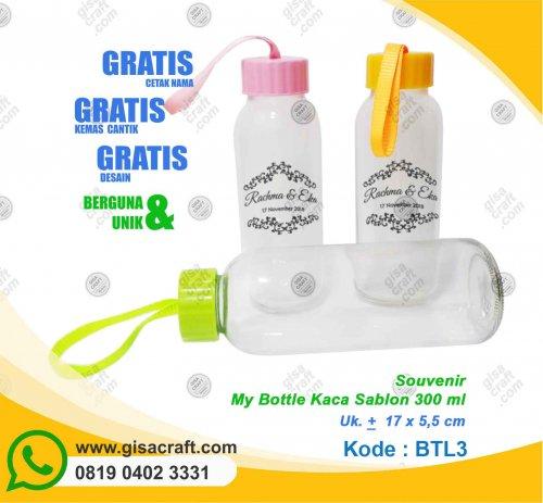 Souvenir My Bottle Kaca Sablon 300 ml BTL3