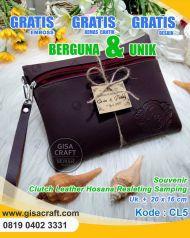 Souvenir Clutch Leather Hosana Resleting Samping CL5