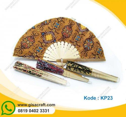 Souvenir Kipas Batik Besar Tepi Kulit Hitam KP23