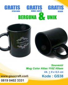 Souvenir Mug Color Atlas 110Z Hitam GS38