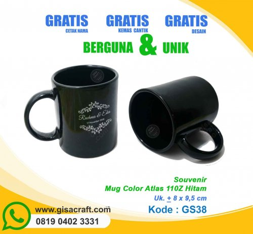 Souvenir Mug Color Atlas 110Z Hitam GS38