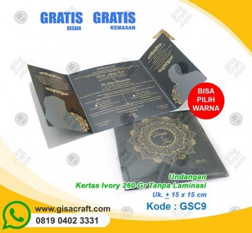 Undangan Kertas Ivory 260 Gr Tanpa Laminasi GSC9