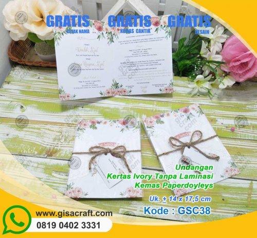 Undangan Kertas Ivory Tanpa Laminasi Kemas Paperdoyleys GSC38