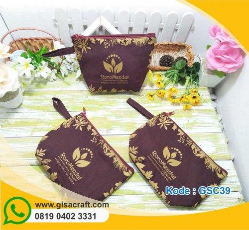 Souvenir Pouch Kanvas Besar Tinta Gold Glitter GSC39