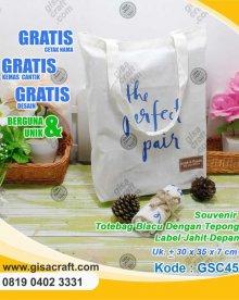 Souvenir Totabag Blacu Dengan Tepong Label Jahit Depan GSC45