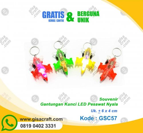 Souvenir Gantungan Kunci LED Pesawat Nyala GSC57