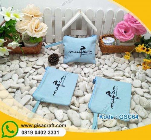 Souvenir Pouch Kanvas Polos Dengan Tali GSC64