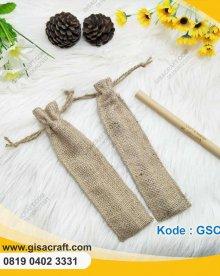 Souvenir Sedotan Bambu + Kantung Serut Goni GSC66