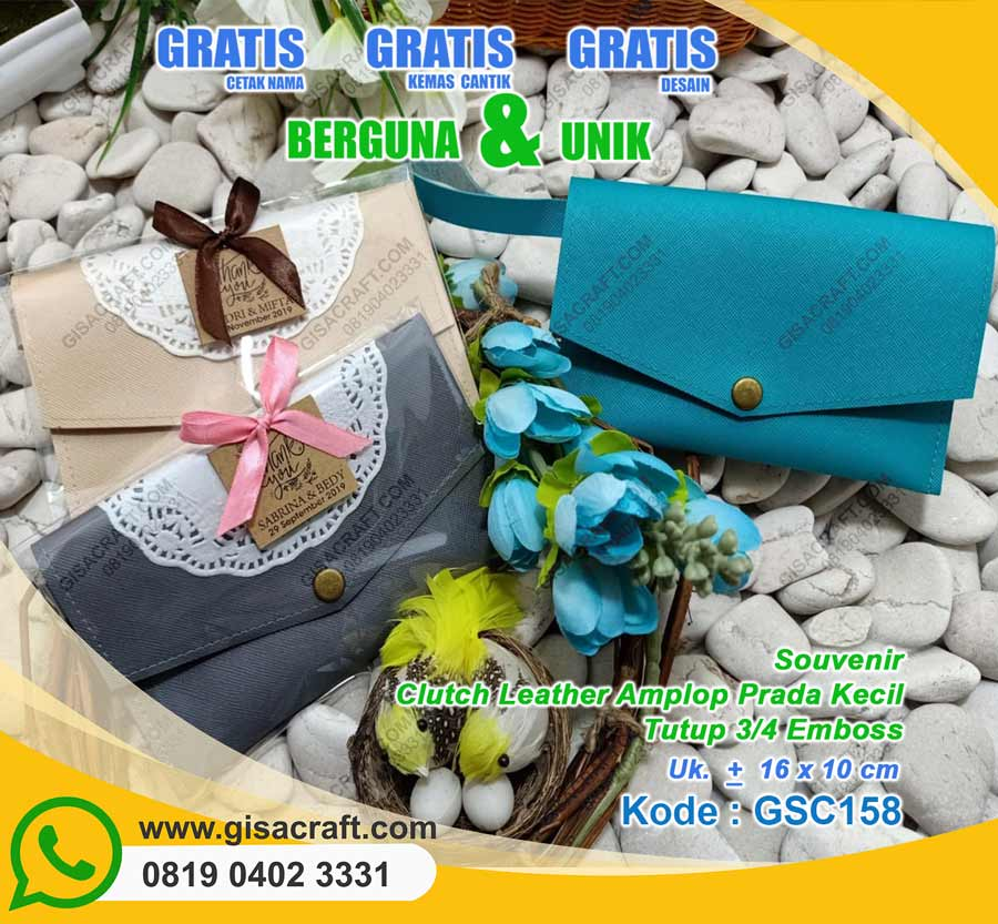 Clutch Leather Amplop Prada Kecil Tutup 3/4 Embos GSC158