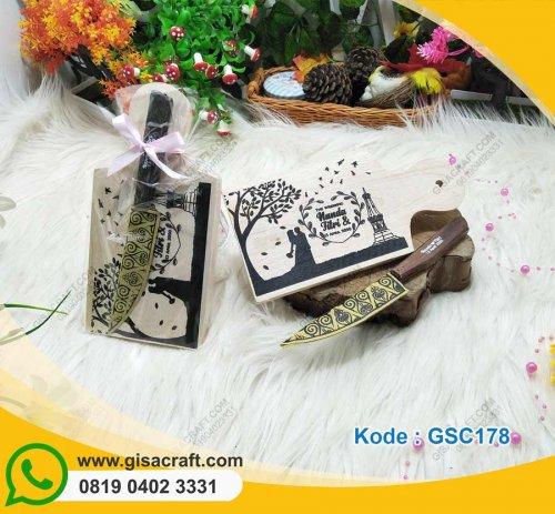 Souvenir Paket Telenan Kayu + Pisau GSC178